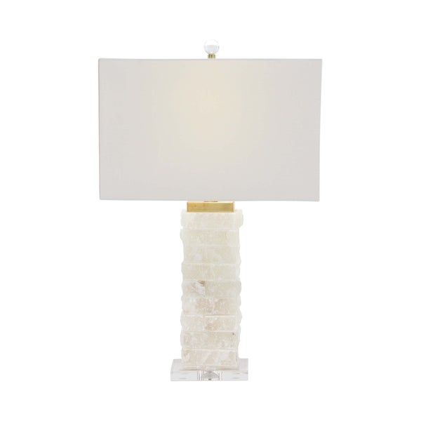 Modern White Textured Marble and Acrylic Table Lamp