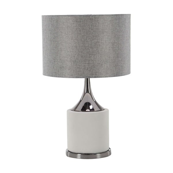 24 inch Modern Concrete and Iron Matte Gray Table Lamp