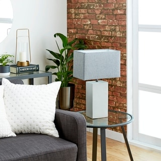 Modern Grey Concrete/Iron Rectangular Table Lamp