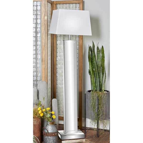 Modern 65 Inch Rectangular Mirrored Wooden Floor Lamp by Studio 350