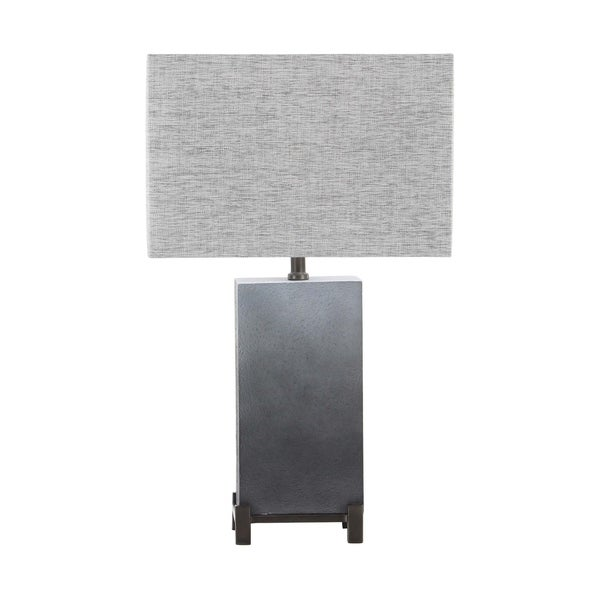 25 inch Modern Polystone and Iron Square Gradient Gray Table Lamp