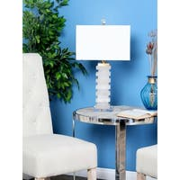 25 inch Modern White Carved Marble and Acrylic Table Lamp