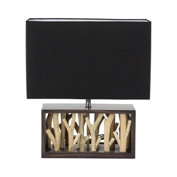 Natural Wood and Iron Rectangular Black Table Lamp