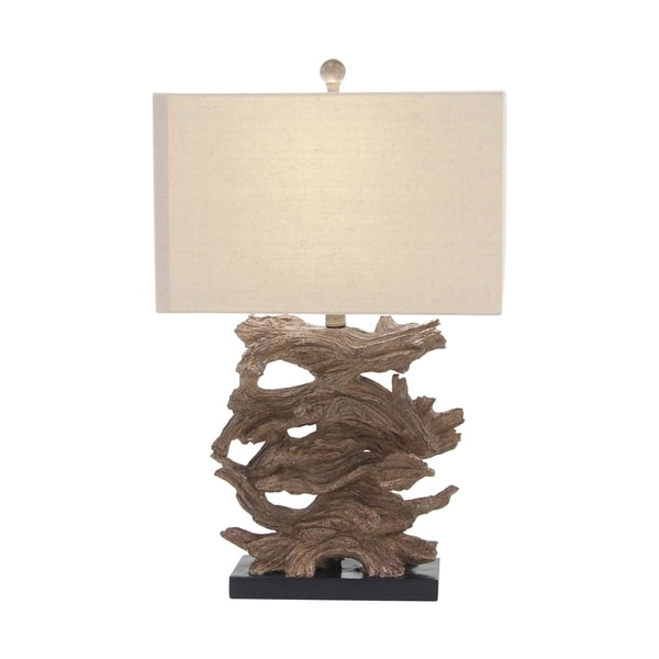 Natural Iron and Resin Tree Bark Table Lamp