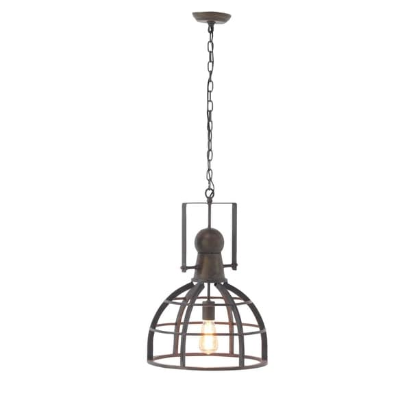 Rustic 63 x 16 Inch Iron Caged Brass Pendant Lamp by Studio 350