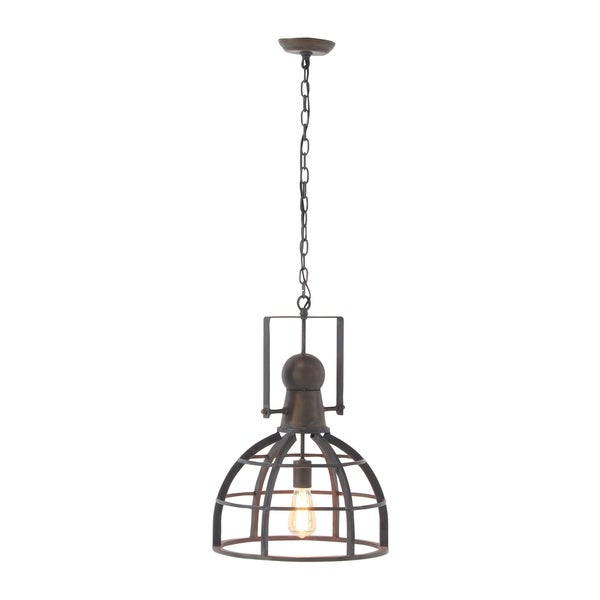 Studio 350 Iron Brass Finish Caged Rustic Pendant Lamp