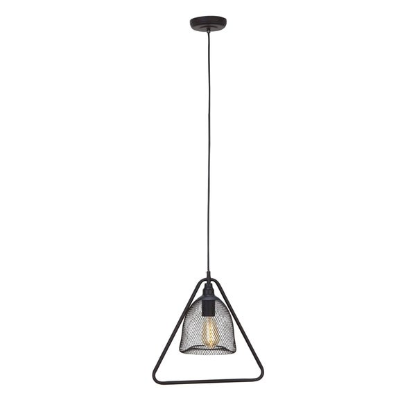 Modern 15 x 15 Inch Iron Triangular Pendant with Bulb by Studio 350