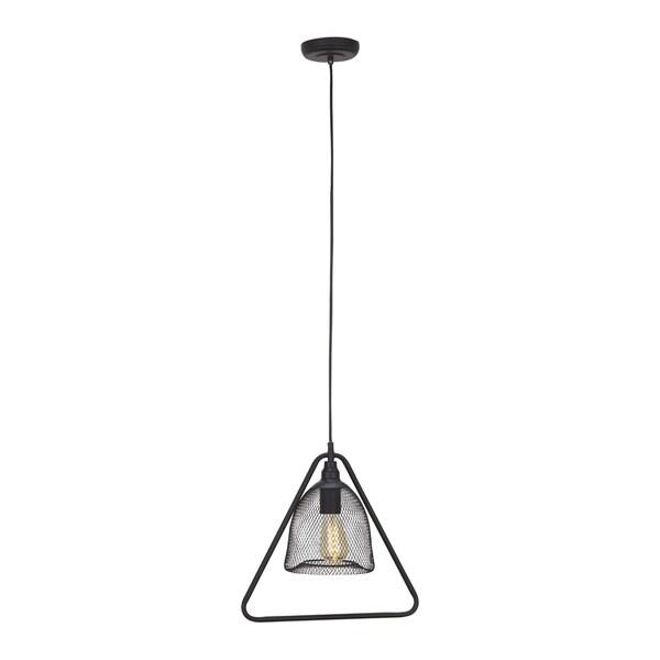 Studio 350 Black Iron Triangular Modern Pendant with Bulb