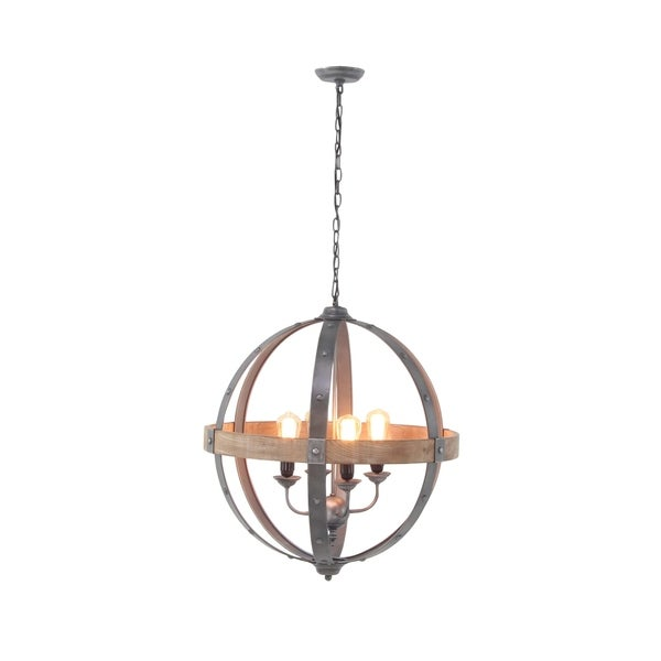 Farmhouse 68 Inch Iron and Fir Wood Sphere Pendant Lamp by Studio 350