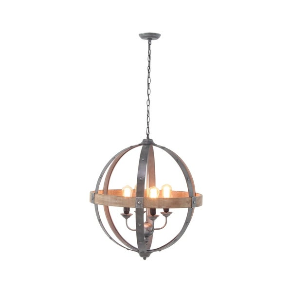 Studio 350 Modern Brown Fir Wood and Iron Sphere Pendant Lamp