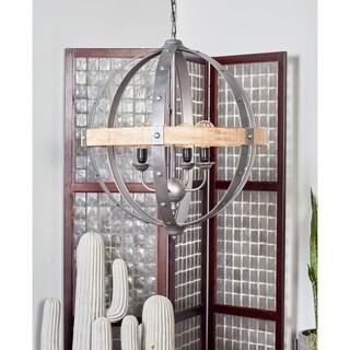 Studio 350 Modern Brown Fir Wood and Iron Sphere Pendant Lamp