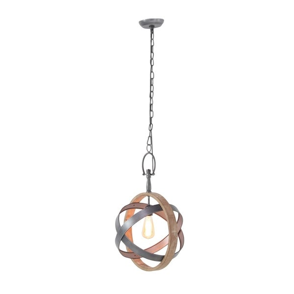 Farmhouse 58 Inch Wood and Iron Chained Sphere Pendant by Studio 350