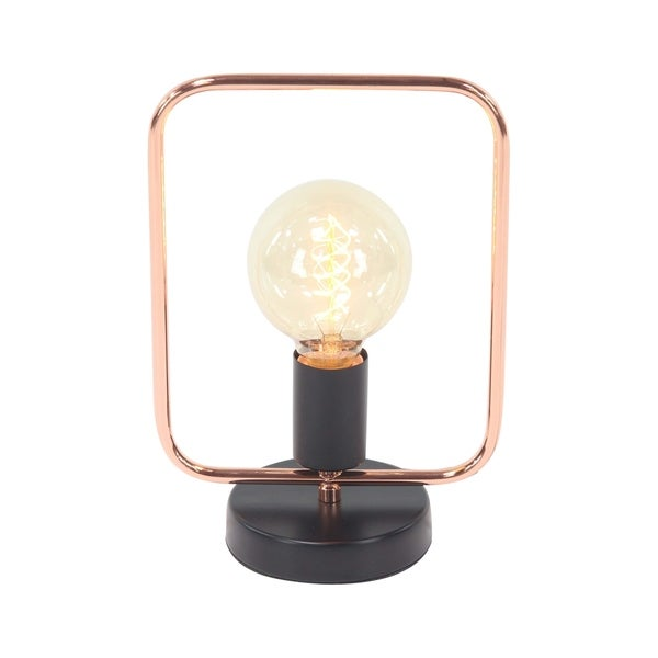 Modern Iron Rectangular Tube Framed Lamp with Bulb