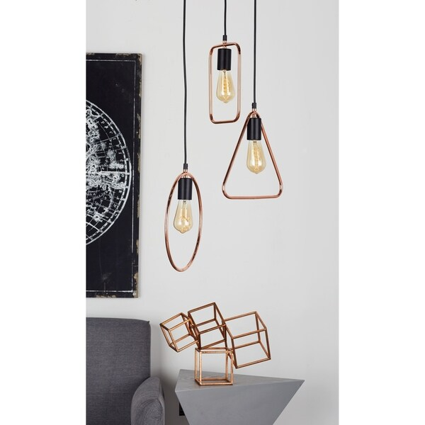 Modern 12 Inch Geometric-Framed 3-Light Pendant Light by Studio 350