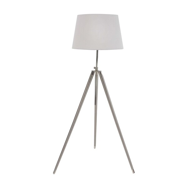 Modern White and Silver Iron Tripod Floor Lamp