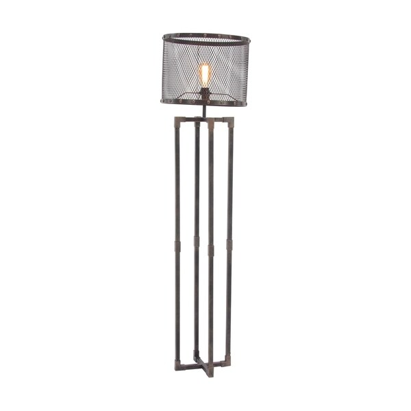 Industrial Round Iron Mesh Floor Lamp with Rectangular Frame Base