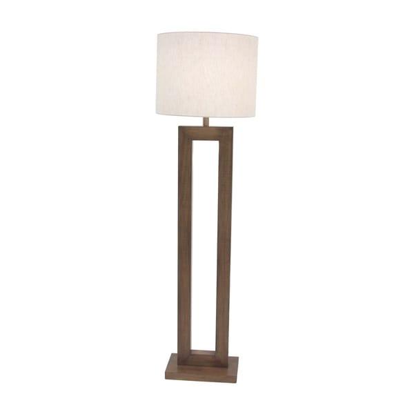 Modern Pine Wood and Iron Rectangular Brown Floor Lamp