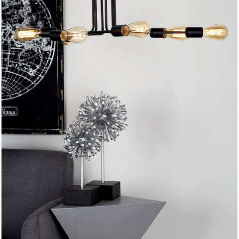 """Industrial Metal Ceiling Pendant Light with 6-Bulb Canopy 40"""" x 8"""""""