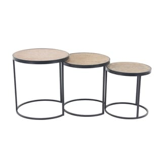 Set of 3 Modern Wood and Iron Round Nesting Tables