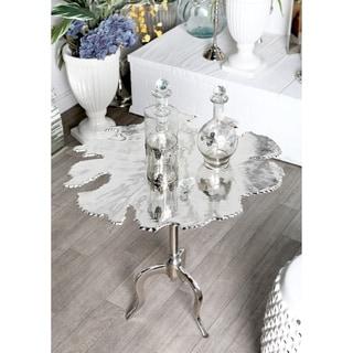 Modern Aluminum Irregular-Shaped Silver Side Table