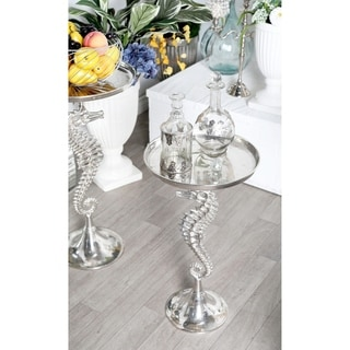 Coastal 29 Inch Round Aluminum Seahorse Accent Table by Studio 350