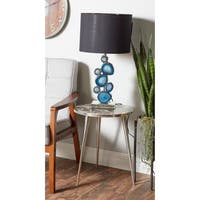 Modern Aluminum and Marbled Agate Round Side Table