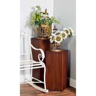 Set of 3 Rustic Brown Wood Pedestal Tables