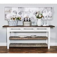 Traditional 3-Drawer Wooden Table with Shelves