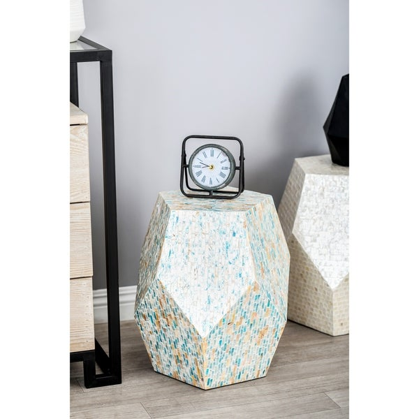 Natural 19 x 16 Inch Pentagon Faceted Accent Table by Studio 350