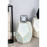 Natural Wood and Shell Faceted Accent Table