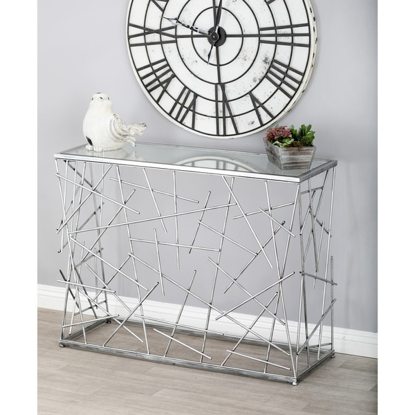 Modern 31 Inch Rectangular Silver Glass Console Table by Studio 350
