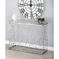 Modern Iron and Glass Rectangular Console Table