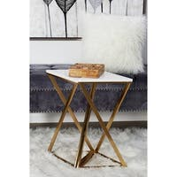 Set of 2 Iron and Marble Hourglass Accent Tables