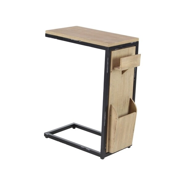 Modern Fir Wood and Iron Multipurpose Side Table