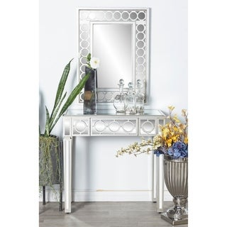 Studio 350 Modern Wood Glass Mirror and Console Table Set