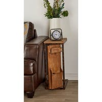 Rustic Fir Wood and Iron Open Frame Side Table