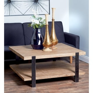 Studio 350 Modern Brown-finished Chinese Fir Wood, Wood, and Black-finished Iron 2-tiered Rectangular Coffee Table