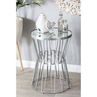 Silver Metal and Glass Hourglass Accent Table by Studio 350