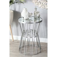 Modern Iron and Glass Hourglass Accent Table