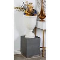 Modern Wood and Stainless Steel White Accent Table