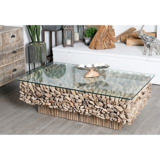 Natural Driftwood and Glass Coffee Table
