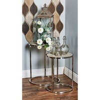 Set of 2 Modern Stainless Steel and Pine Wood Round Nesting Tables