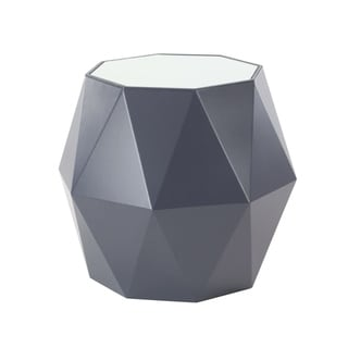 Modern Multi-Faceted Wood and Mirror Accent Table