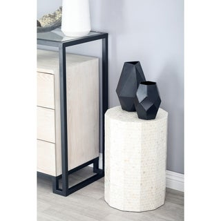 Natural Wood and Shell Round Faceted Accent Table