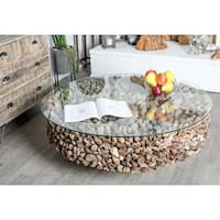 Natural Round Driftwood and Glass Coffee Table