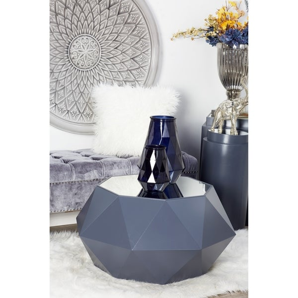 Modern 19 x 35 Inch Wood and Mirror Accent Table by Studio 350