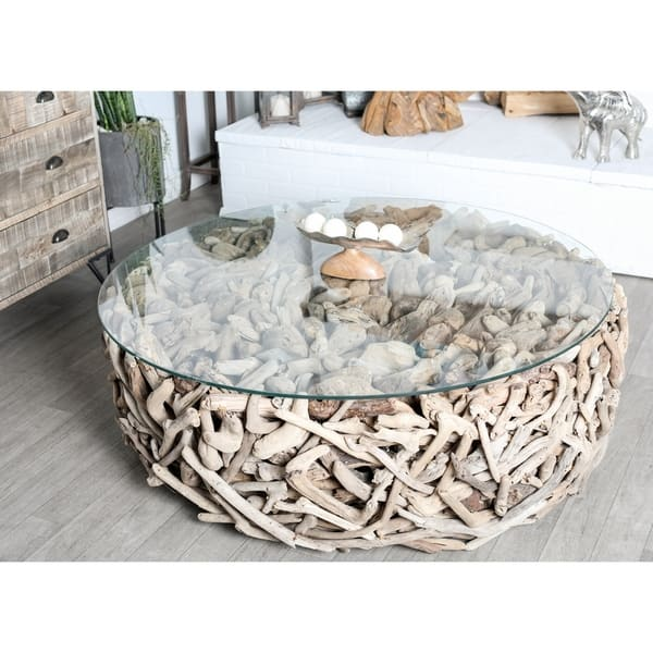 Shop Natural Round Driftwood And Glass Coffee Table By Studio 350