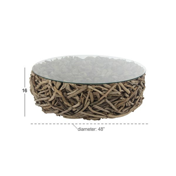 Pleasant Shop Natural Round Driftwood And Glass Coffee Table By Uwap Interior Chair Design Uwaporg