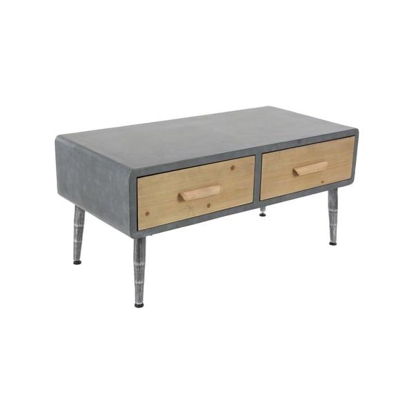 Shop Modern Gray Rectangular 2-Drawer Wood Coffee Table