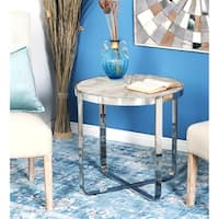 Contemporary Wood and Stainless Steel End Table